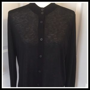 LOFT Double Button Collar Cardigan Sweater Black M